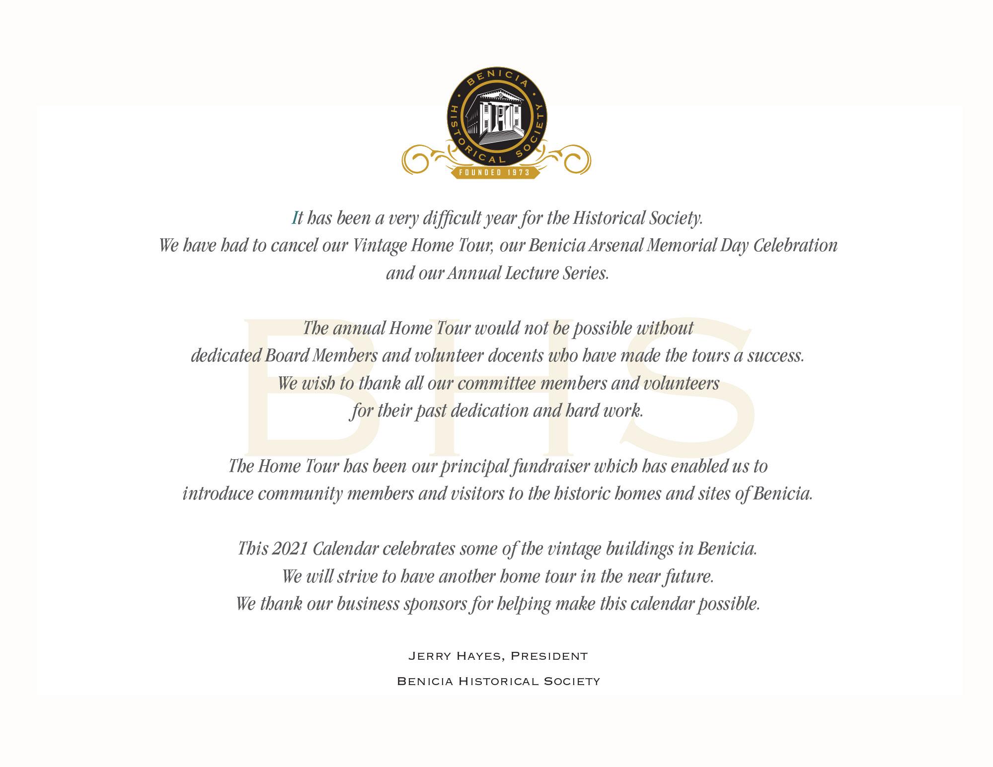 Benicia-Historical Society Calendar 2021